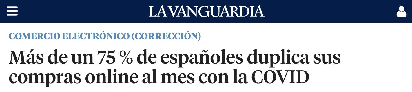 captura de pantalla del titular de la entrevista a Jesús Orozco en La Vanguardia sobre el nuevo consumidor online