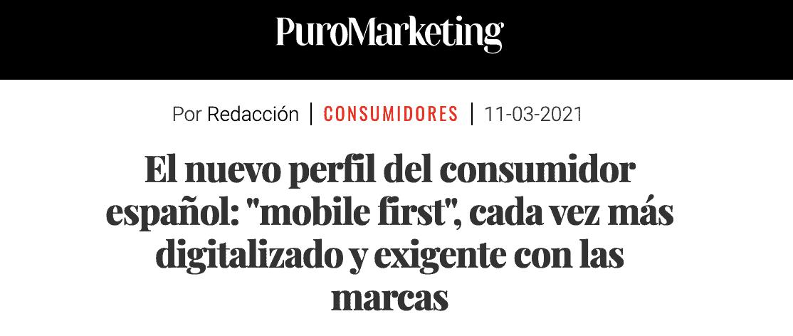 captura de pantalla del artículo en puro marketing sobre el perfil del nuevo comprador español de ecommerce